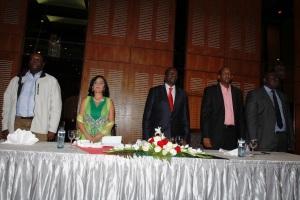 L to R Dr Hassan Wariro Arero, Hon. Sunjeev K Birdi, Hon. William Ruto, Hon. Aden Duale, Hon. Sakaja Johnson