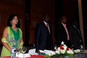 L to R Hon. Sunjeev K Birdi, Hon. William Ruto, Hon. Aden Duale, Hon. Sakaja Johnson stand for the Kenya National Anthem