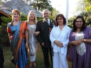 L to R Stefanie Hallberg, Marlies Verweij, Colonel Willem Verweij, Tania Francis, Shafinaz Abdool
