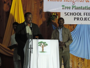 L to R David Kuria, Nelson Muiru from Kijabe Environment Volunteers, Partners to HRSC Tree Planting