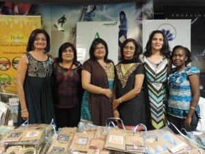 L to R Manisha Dave, Priti Shah, Bansi Shah, Smita Shah, Bindi Shah, Diana Nziza of Amara Charitable Trust
