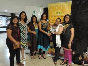 L to R Priti Shah, Bindi Shah, Bansi Shah, Manisha Dave, Kalpa Padia of Raka Milk Processors Ltd, Smita Shah
