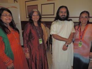 L to R Heena Shah, Priti Shah, Swami Shivtaniaya, Devna Nagda