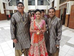 L to R Akshay Vishram, Bride Shaini Vishram, Neel Patel