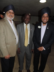 L to R Surinder Sihra, Roy Mungai (Vice Governor Lions Club District 411 A), Davinder Eari (Governor Lions Club District 411 A)