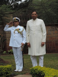 L to R Captain Kapoor, H.E. Mr Yogesh Varma Indian High Commissioner to Kenya
