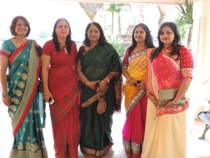 L to R Anita Patel, Shilpa Patel, Mrs Alka Varma (Wife of Indian Commissioner), Chetna Pathak, Mittal Patel