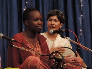 L to R Elizabeth Wamba, Darshna Vaya of Art of Living sing the Shiv Dhun
