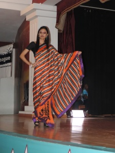 Megha Joshi with a Saree design by Hardhik Modi