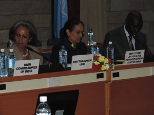 L to R DG UNON Ms Sahle Work Zewde, Deputy CJ Kalpana Rawal, PS Mins of Education Dr Belio Kipsang