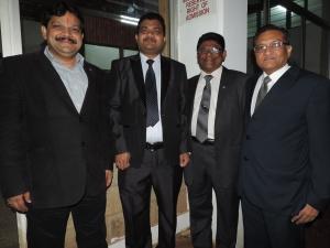 L to R Kamal Gupta, Nitin Malde (Chairman Hindu Council of Kenya), Jayendra Malde, Suresh Mehta