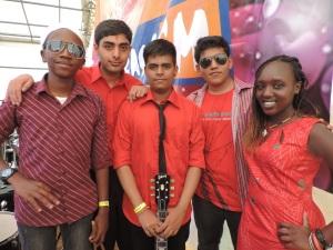 Red Velvets Band (L to R) Elijah Karanja, Ankit Chhatbar, Paras Mehta, Kshitiz Agarwal, Nicole Sian