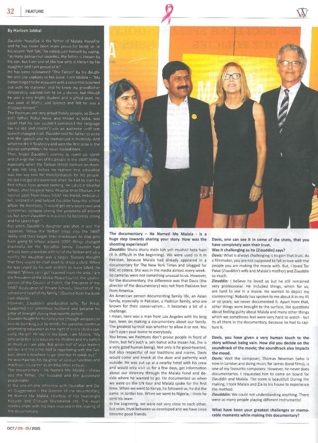 He Named Me Malala Interview The Asian Weekly 9th October Page 1