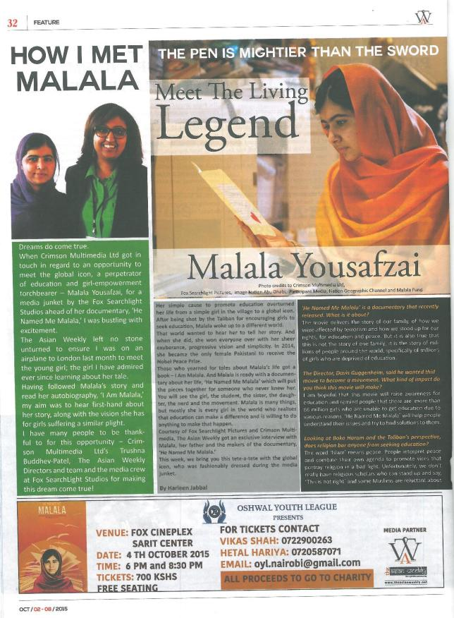 Malala Yousafzai Interview The Asian Weekly 2nd October 2015 Page 1