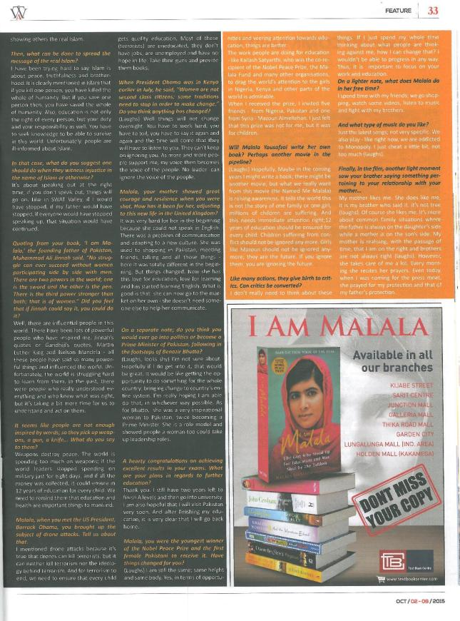 Malala Yousafzai Interview The Asian Weekly 2nd October 2015 Page 2